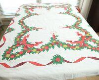 Vintage Christmas Tablecloth Cotton Rectangle 70 x 60 Holly Printed Xmas Holiday