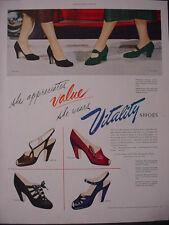1951 Vitality Shoes Spangle Poinciana Ragtime Damask etc Vintage Print Ad 12271