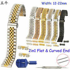 12 15 17 18 19 20 22mm Stainless Steel Band w Flat Curved Ends Metal Watch Strap
