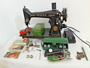 SINGER 66 SEWING MACHINE+ATTACHMENTS perfect for DENIM LEATHER+more (q537)p2