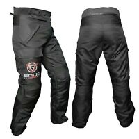 Black Textile Cordura Waterproof CE Armours Motorbike Motorcycle Trousers Pants