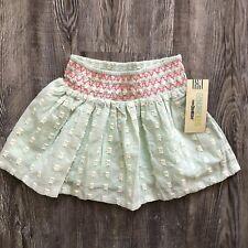 Genuine Kids Oshkosh 4T girls skirt pull-on embroidered mint white new cotton