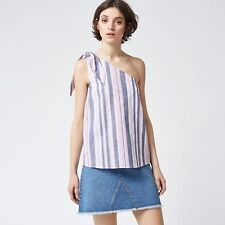 Warehouse Stripe Tie One Shoulder Top Size UK 10 Lf085 JJ 02