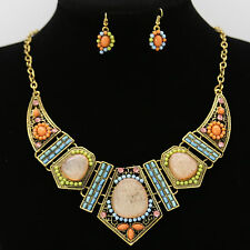UK Bohemia Mix-colour Gem Beads Chain Necklace Earring Set Jewelry Accessories