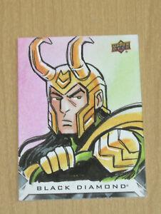 2021 Upper Deck Marvel Black Diamond sketch Tim Shinn LOKI 1/1