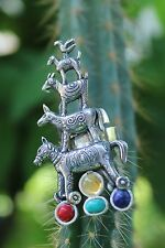 Fun Tower of 5 Animals & Gemstone Sterling Silver Ring Gabriela Sanchez Mexican