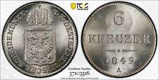 1849-A Austria 6 Kreuzer PCGS MS67