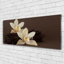 Tableau murale Impression sous verre 125x50 Floral Vanille