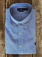 Polo Ralph Lauren Slim-Fit Poplin Shirt Blue White Stripe Mens Size Large New
