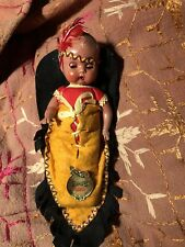Hiawatha Vintage Native American Baby Doll In Papoose by Reliable Toy Co. Ltd