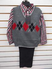 Boys Dockers $62 3pc Gray Sweater Vest Set Size 4 - 7