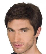 Man Short Cut Straight Layered Synthetic Wig  Full Hair Brown wig
