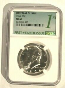 1964 NGC MS66 SILVER KENNEDY HALF DOLLAR FIRST YEAR OF ISSUE