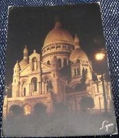 France Paris la Nuit La Basilique du Sacre-Coeur de Montmatre Illuminee - posted