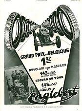 Publicité ancienne pneus Englebert Français 1933 issue de magazine