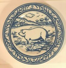 "Williams-Sonoma ""Brittany"" 7 3/4 inch Country pig scene blue and white xx"