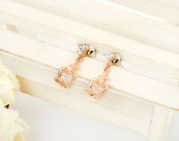18K Rose Gold GF Lady Cute Crystal Crown Drop Dnagle Ear Stud / Clip on Earrings