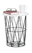 Relaxdays Round Metal Side/Coffee Table 42cm high Black/White. Brand new RRP £49