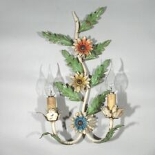 Vintage French MulticolorTole Sconce, Branch, Flowers, Two Lights