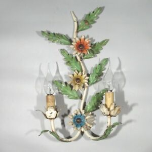 Vintage French MulticolorTole Sconce, Branch, Flowers, One piece (Two Lights)