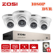 ZOSI 1080P 4CH DVR HD 2MP Outdoor Home Security Camera System Night 1T HD + Gift