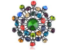 Beautiful Colorful Sun Star Burst Flower Snowflake Crystal Rhines Pin Brooch New