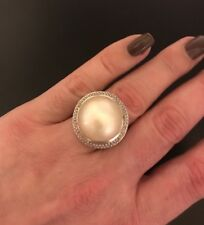 David Yurman Silver Ring With Round Pearl And Diamonds Size 6