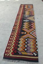 Kilim Rug Runner Bohemian Chic Orange Red Black Colored 2'4 x 12'1 / 76x371cm