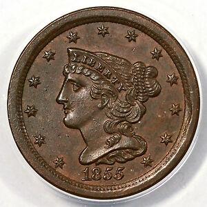 1855 ANACS MS 60 BN Braided Hair Half Cent Coin 1/2c