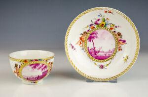 Antique Den Haag - Hague Porcelain - Hand Painted Cherubs & Scenes Cup & Saucer