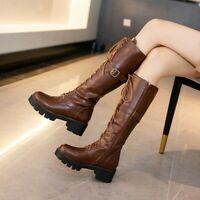 Women's Block Heels Lace Up Riding Knee High Boots Round Toe Buckle Knight Shoes