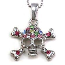 Halloween Skull Cross Bone Pendant Necklace Charm Silver Tone Costume Jewelry q1