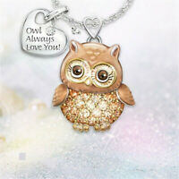 Valentine's Gift Crystal Animal Owl Pendant 925 Silver Necklace Charming Jewelry