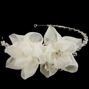 Clementine Flower & Crystal Bridal Tiara (Silver) (e4511ts)