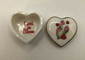 White Ceramic Heart Shaped Trinket Box With Flowers