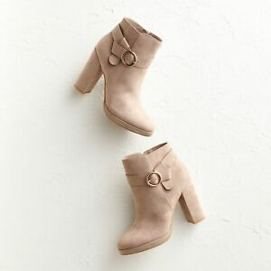 LC Lauren Conrad Avant Women's High Heel Ankle Boots Faux Suede Taupe Tan 9 NEW