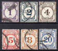 Malayan Postal Union 1951 KGVI Postage Due p/set (6v.) perf 14 wmk MSCA used