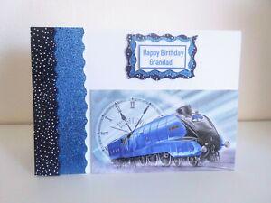Handmade 8 x5 inch card, Happy Birthday Grandad, Blue, train.
