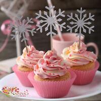 10 X GLITTER SNOWFLAKE CAKE CUPCAKE TOPPERS SNOWFLAKE CAKE CUPCAKE TOPPERS