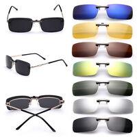 Sunglasses UV400 Polarized Clip On Flip-up Driving Glasses Day Night Vision Lens