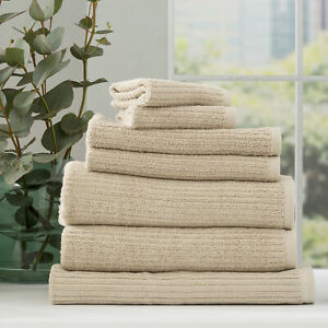 Renee Taylor Cobblestone 650 GSM Cotton Ribbed Bath Collection Stone