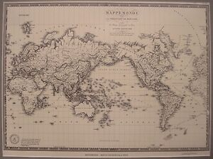 A Brue Mappemonde World Map Art Print Lithograph 1830 Second Edition