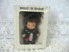 "Graduate Girl 4.25"" Doll Vintage 60s Vinyl PlasticJay Bee Original Box Hong Kong"