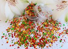Nail Art Chunky *TinSel* Xmas Green Gold Red Hexagon Glitter Spangles Mixed Pot