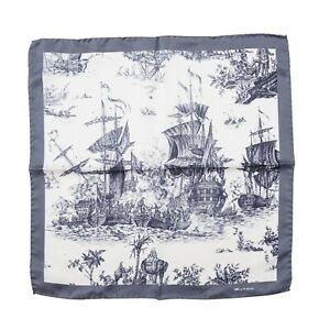 Kiton Napoli Pewter Gray Historic Naval Ship Battle Print Silk Pocket Square