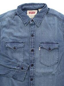 Levi's Men's Denim Shirt Casual Work Button-Up Placket, Button Down Pocket Flaps
