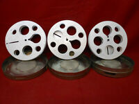 "Vintage Lot of 3 16MM 7"" Metal Movie Theater Film Reels and Film Cans #4"