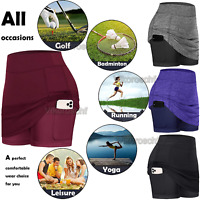 Women Athletic Running Golf Tennis Skorts Skirts Dress Inner Shorts with Pockets