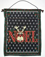 """Noel Reindeer Banner Tapestry Christmas Holiday Wall Hanging Decor 16"""" x 12.5"""""""