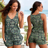 Women Print Retro Mini Playsuit Summer Holiday Beach Jumpsuit Romper Shorts Pant